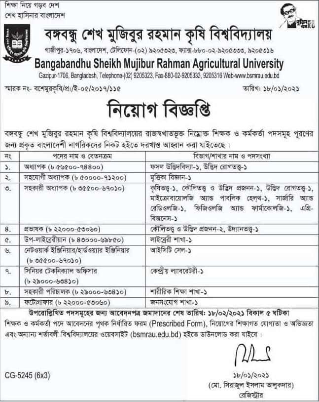 BSMRAU Job Circular