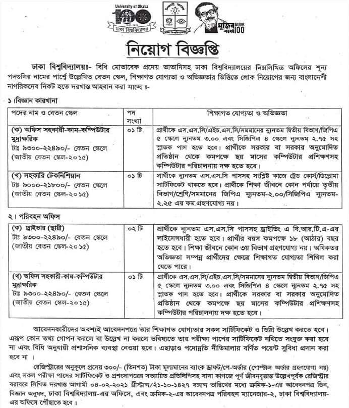 Job Circular At Dhaka University